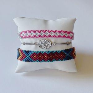 Woven bracelet set druzy crystal stone friendship